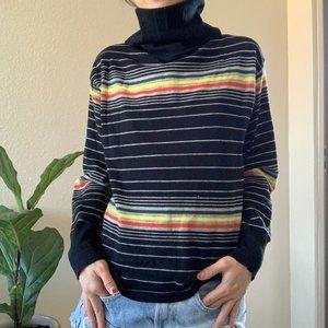 Sweaters - Vintage Rainbow Stripe Turtleneck Sweater